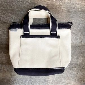 Lands End Canvas Lunch Tote Cream and Navy NWOT